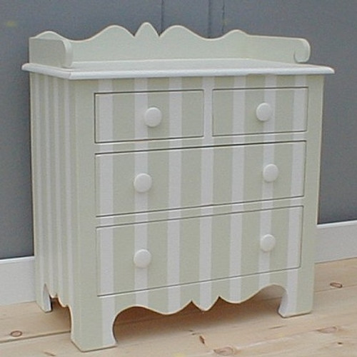 Harry's Bedside Table- Sage Gray/ White Stripe