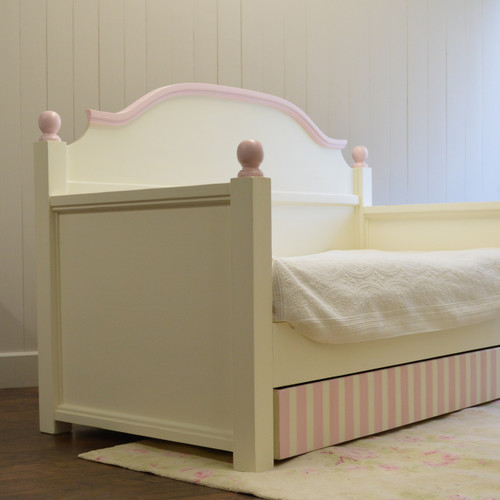 Trundle Bed Tray -  Pink and French White (striped)