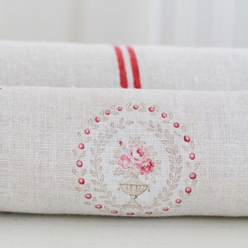 ANTIQUE STONE & RUBY ON CREAM LINEN