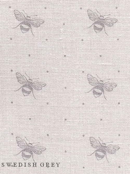 JUST BEES ~ SWEDISH GREY ON CREAM LINEN