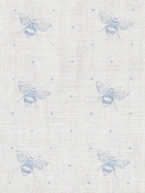 JUST BEES ~ SWEDISH BLUE ON IVORY LINEN