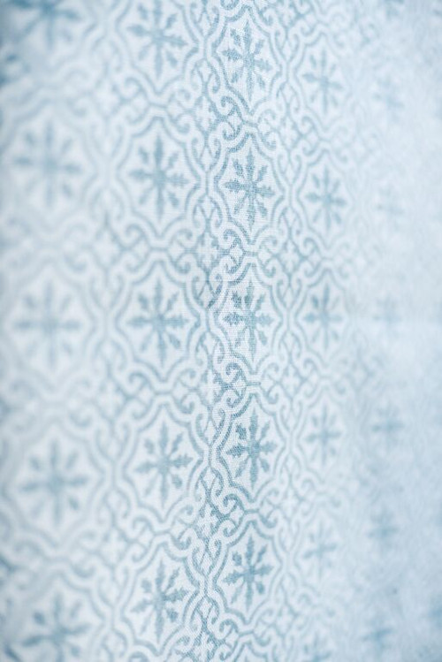 LAKSHMI ~ BAMBURGH BLUE ON IVORY LINEN
