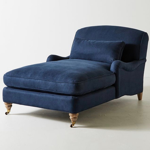 English roll-arm chaise ~ Indigo Linen