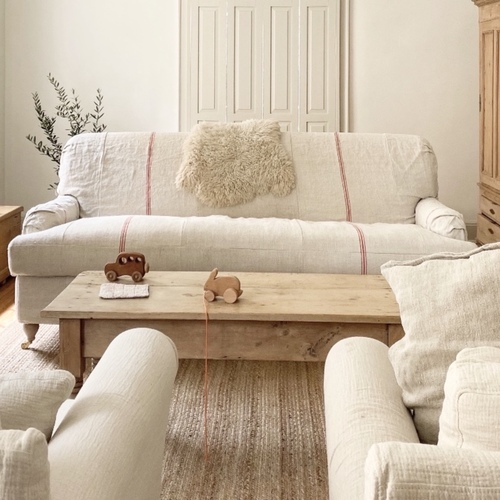 English Roll Arm Sofa in French Grain sack by English Farmhouse Furniture