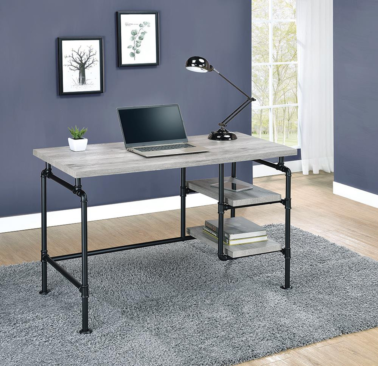 The Delray Collection Delray 2 Tier Open Shelving Writing Desk Grey Driftwood And Black 803701 Available At 5 Star Furniture Serving Houston Tx And Surrounding Areas