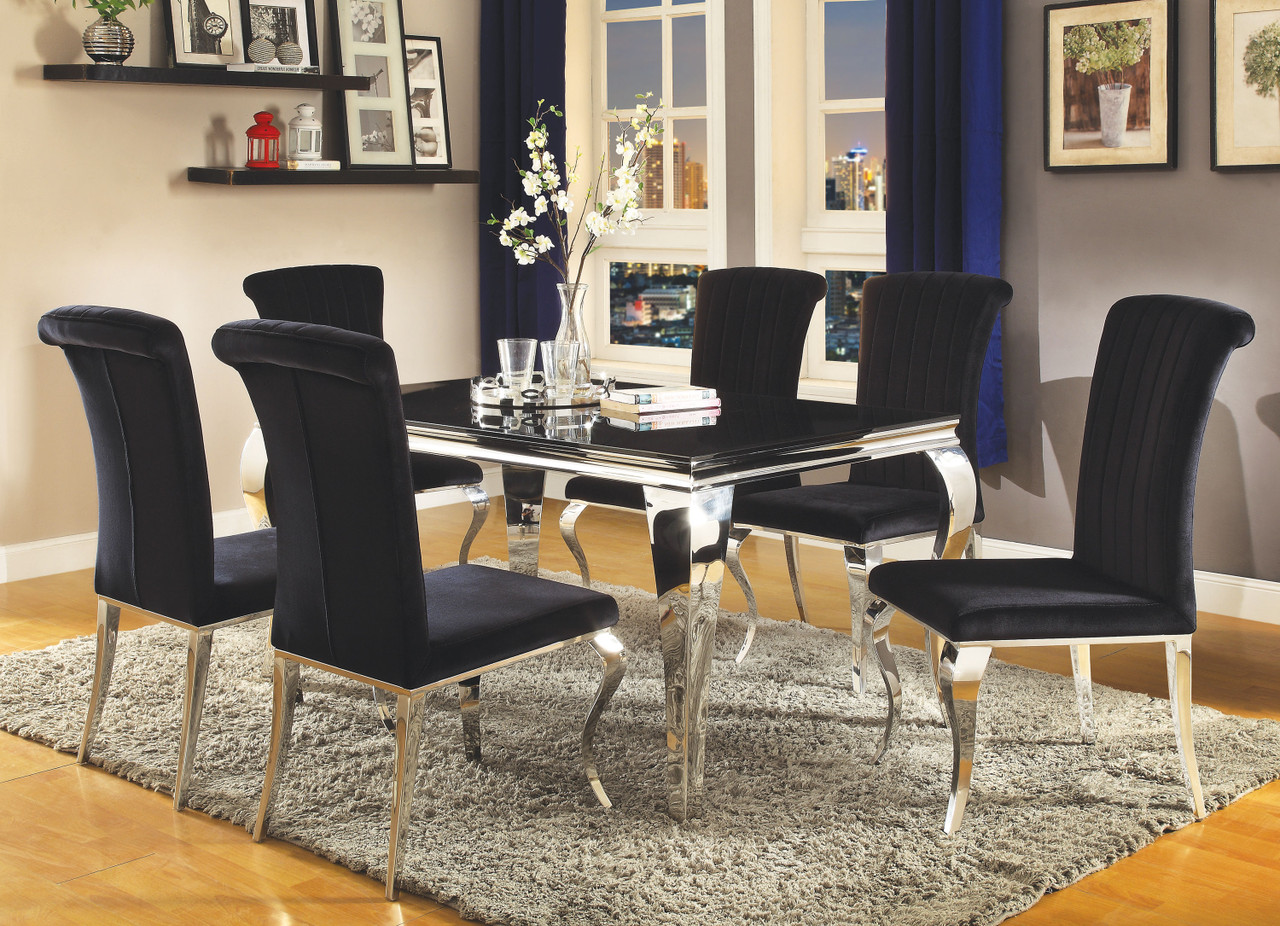 The Carone Contemporary Black And Silver Five Piece Dining Set 105071 S5 Available At 5 Star Furniture Serving Houston Tx And Surrounding Areas