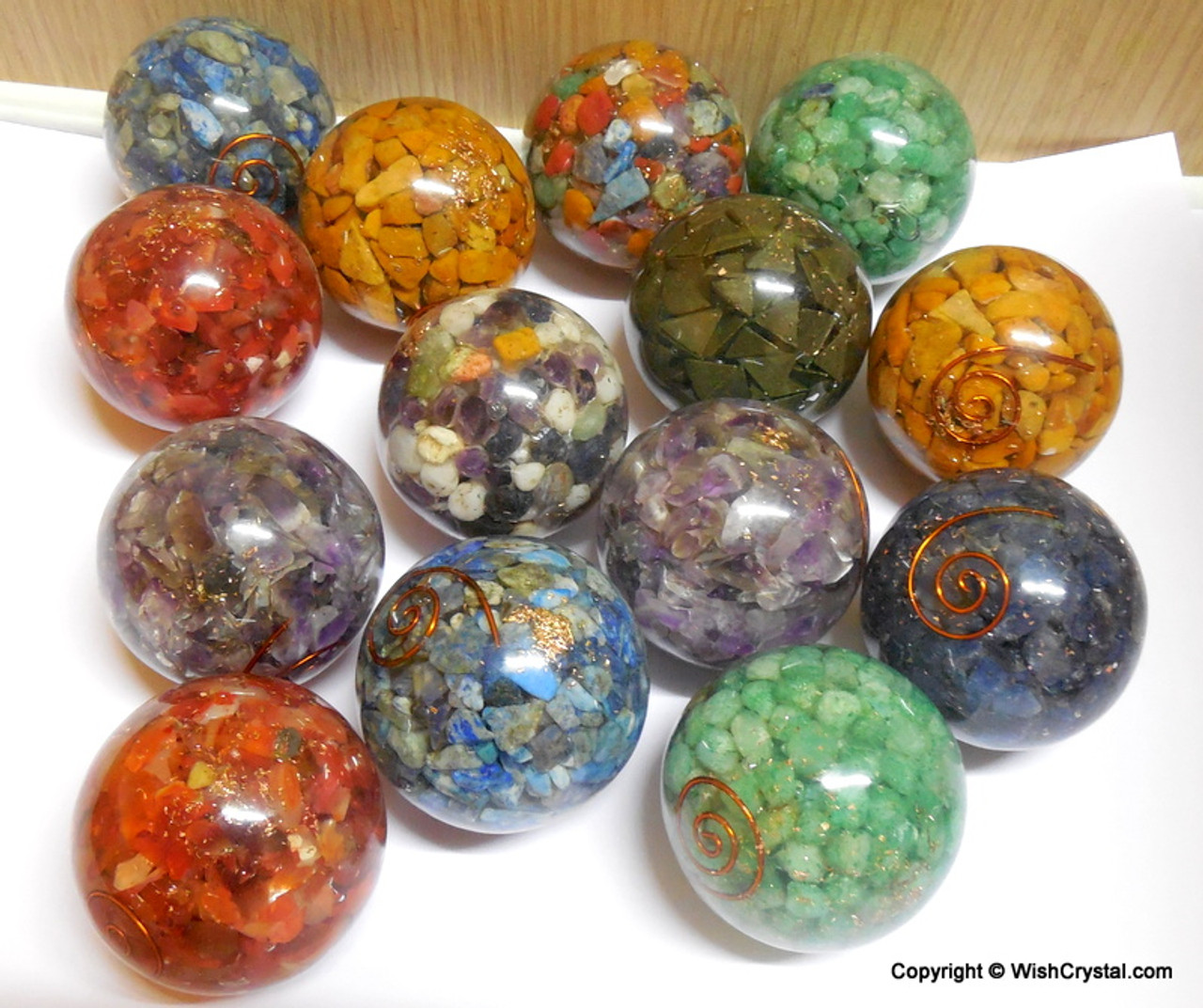 Chakra Stones Layered Orgonite Sphere EMF Protection Healing