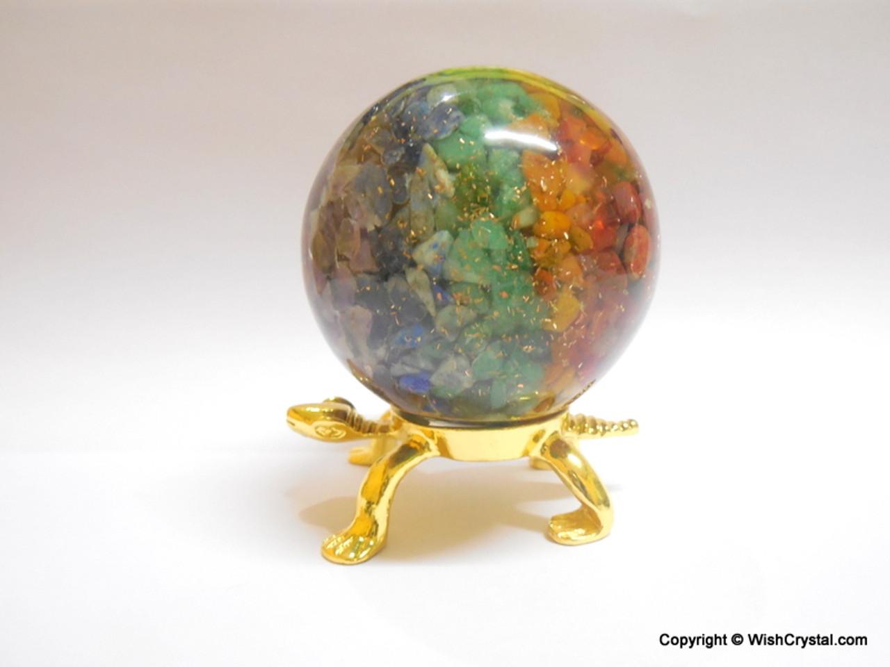 Chakra Stones Layered Orgonite Sphere EMF Protection Healing