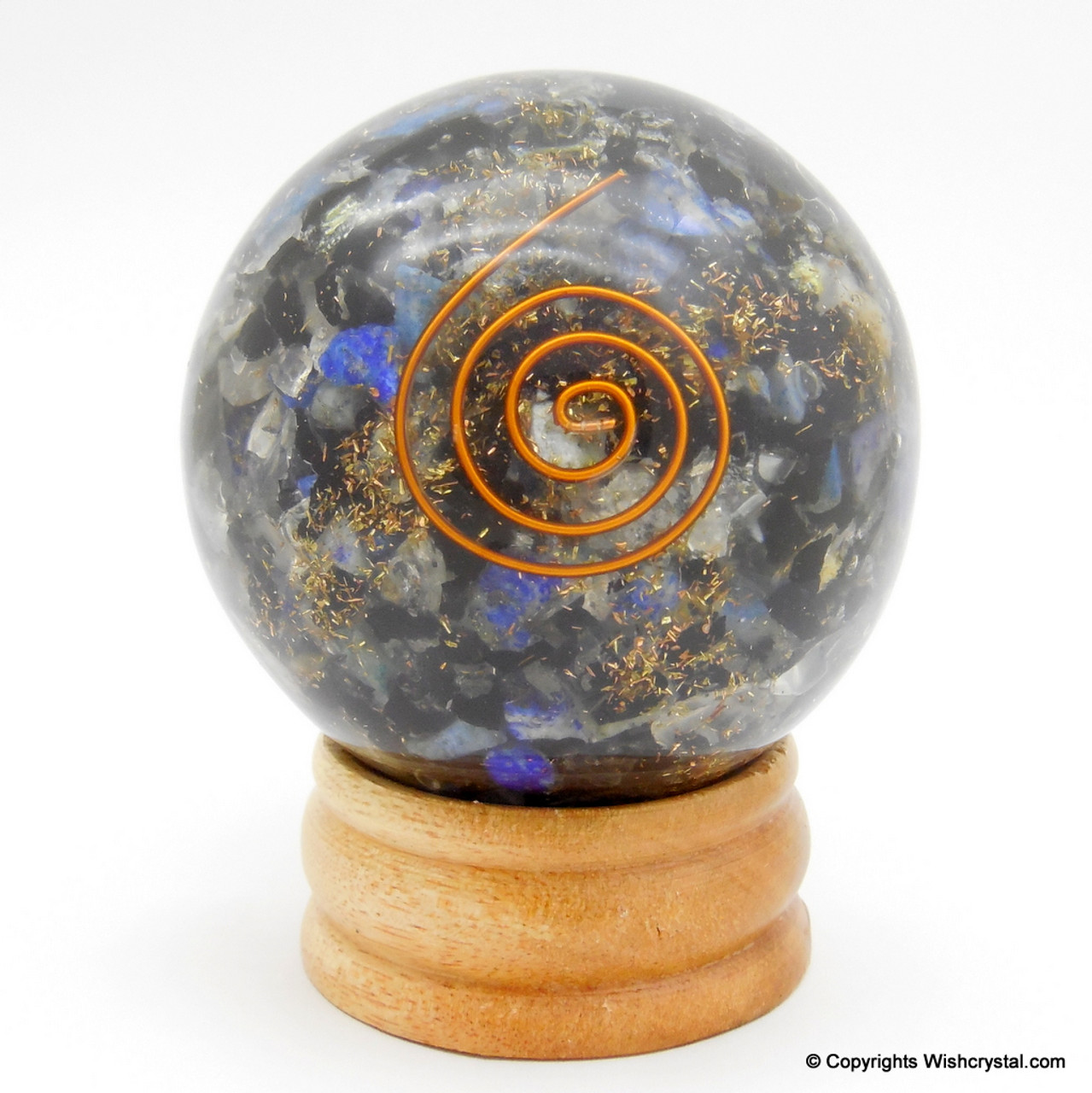 Black Tourmaline, Crystal & Lapis Lazuli Orgonite Sphere EMF Protection  Healing - 60 mm