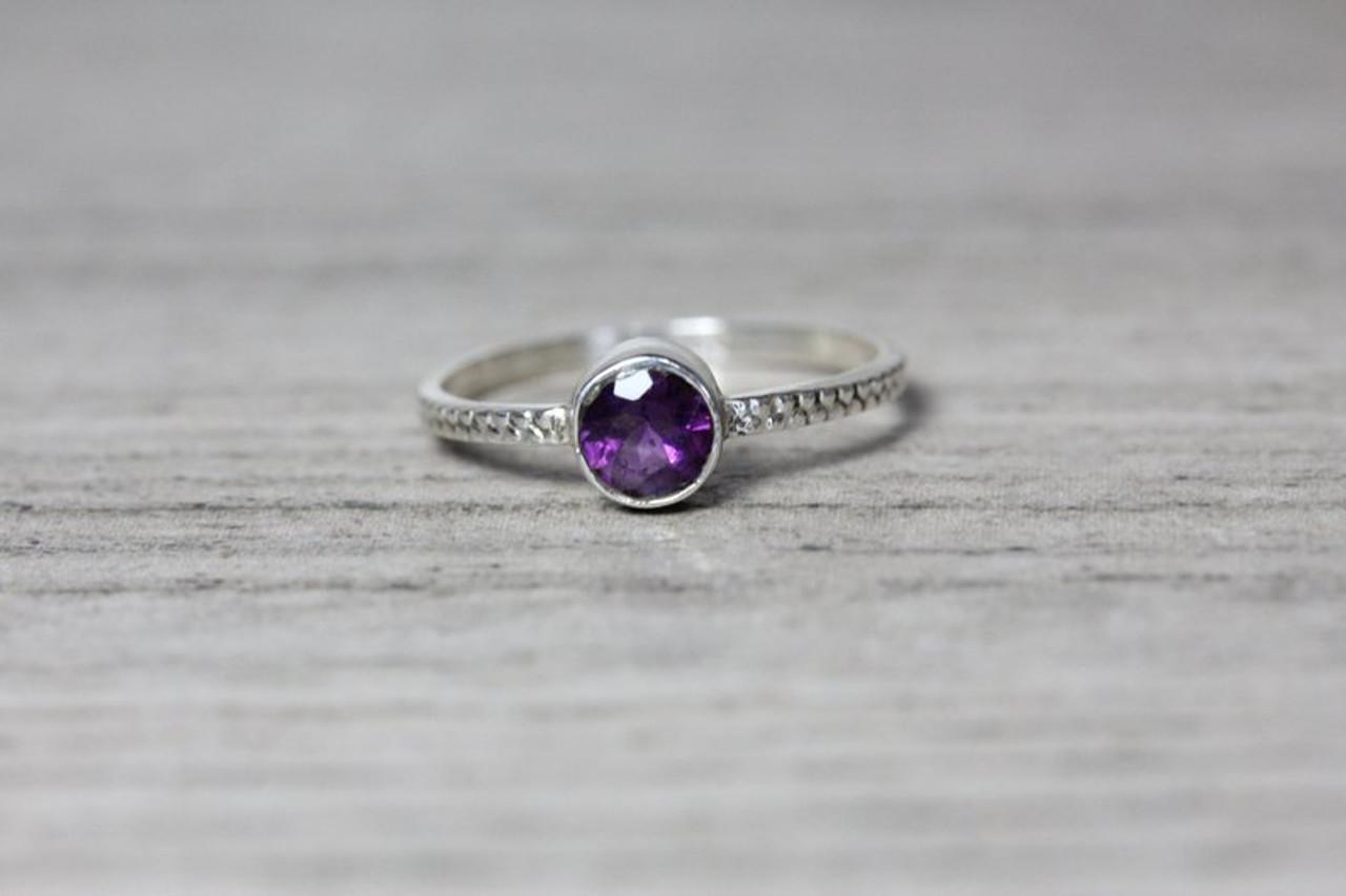 9abddd2bc1158 Amethyst Bezel Silver Ring Beaded Band 5mm Genuine Gemstone
