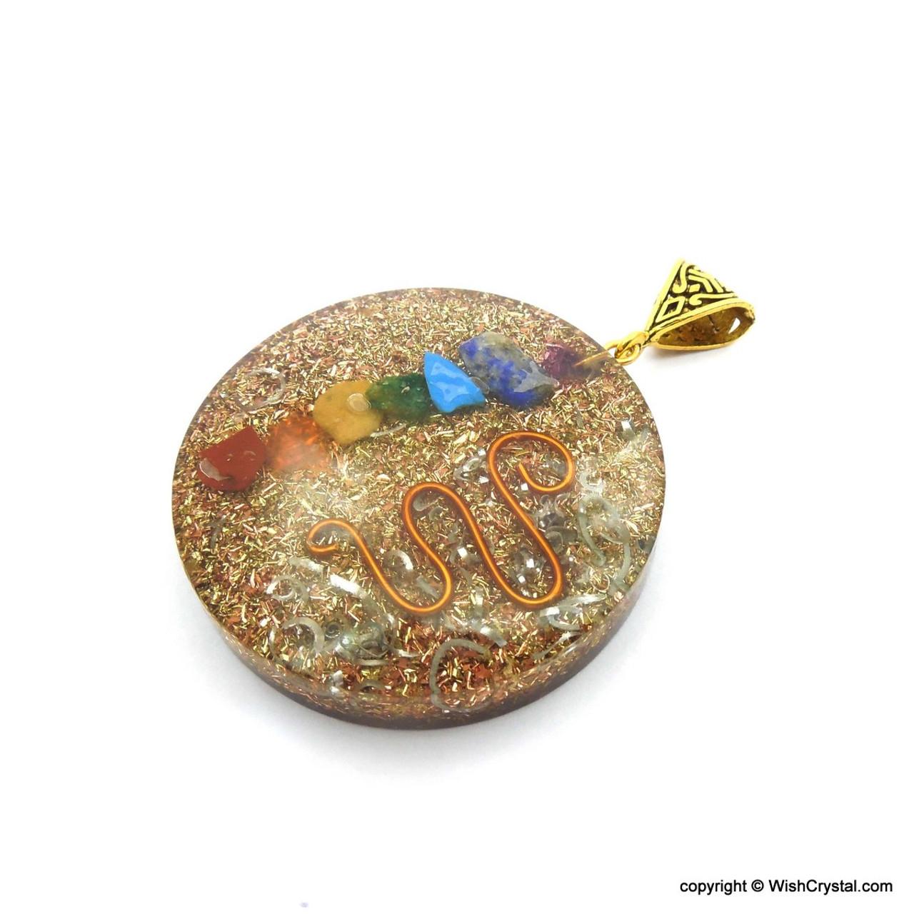 Orgone healing crystal pendant ~ natural red jasper gemstone chips~copper spiral