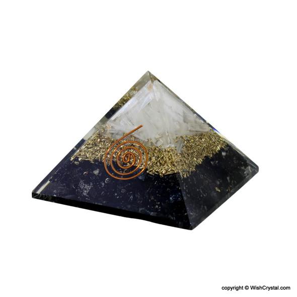 Black Tourmaline and Selenite Pyramid