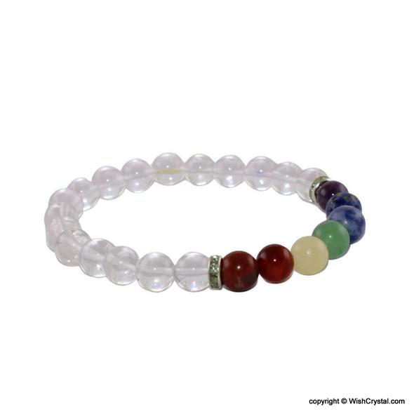 Chakra Stones Beads Bracelet with Natural Crystal Quartz Beads
