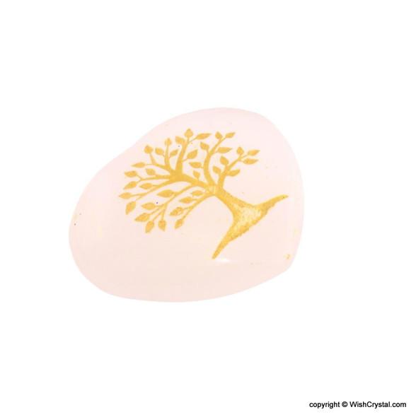 Selenite Heart Shape palm worry stone engraved with aura tree