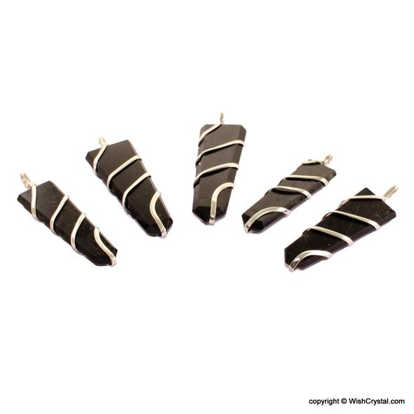 Black Tourmaline 1 3/4 inch wire wrap pendant