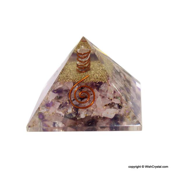 Rose Quartz, Amethyst and Crystal Orgonite Pyramid