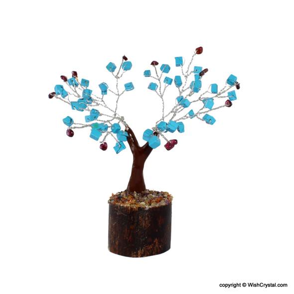 Halo Cube Turquoise tree with Garnet - Petite Bonsai Crystal tree
