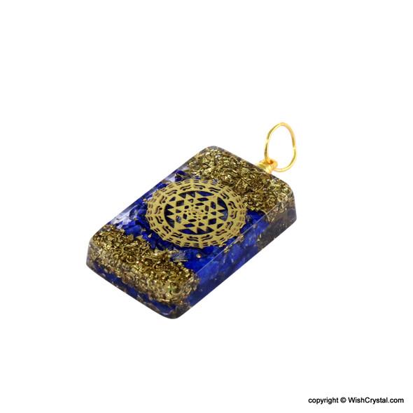 Lapis Lazuli Geometric Orgonite Tablet Pendant with Copper