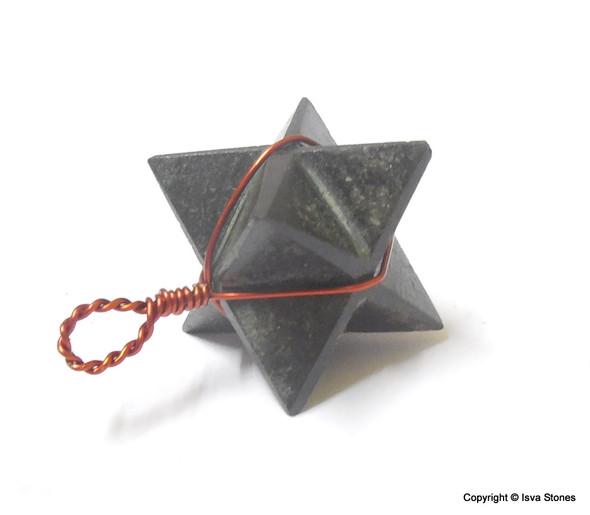 Black Tourmaline Star Wire Wrapped Pendant