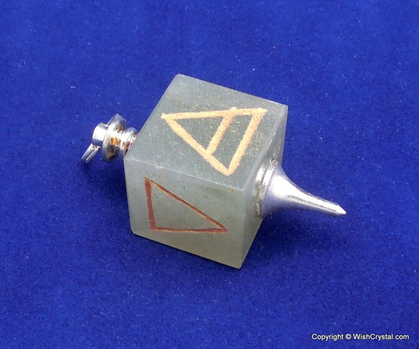 Green Ave Cube Engraved Pendant