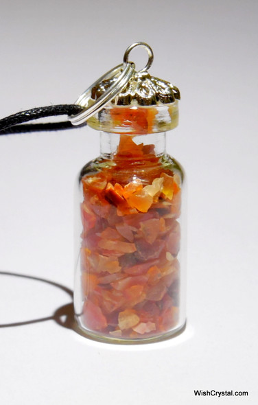 Red Carnelian Filled Bottle Pendant