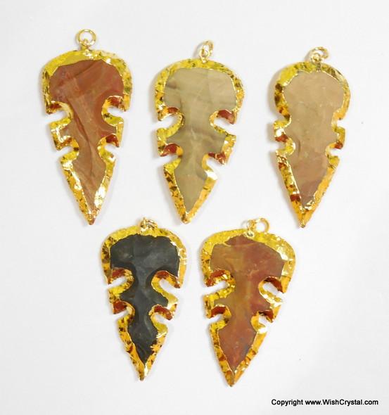 Gold Plated Agate Leaf Shape Pendant