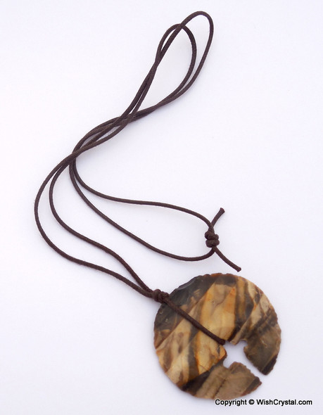 Cross-circle Leather wrap Agate Stone pendant