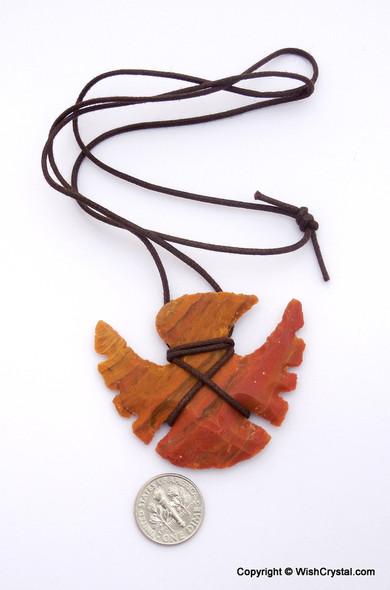Eagle Shaped Arrowhead Agate Leather Wrap Pendant