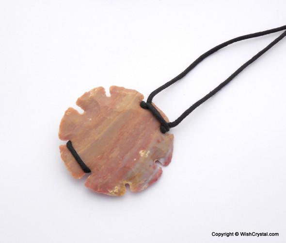 Sun Shaped Arrowhead Agate Leather wrap pendant