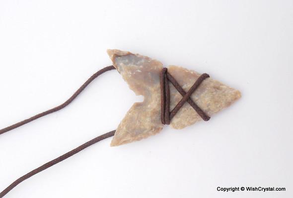Shark Tooth shaped Agate Arrowhead Leather Wrap Pendant