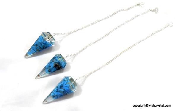 Halo Turquoise Orgonite Pendulum - 6 Facets