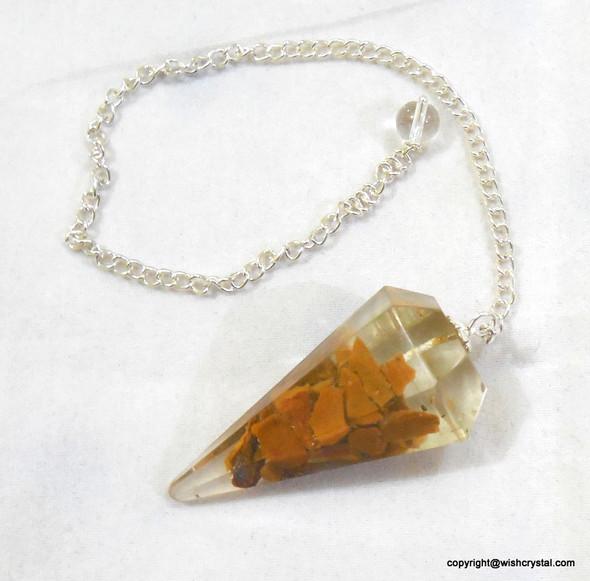 Yellow Quartz Orgonite Pendulum - 6 Facets