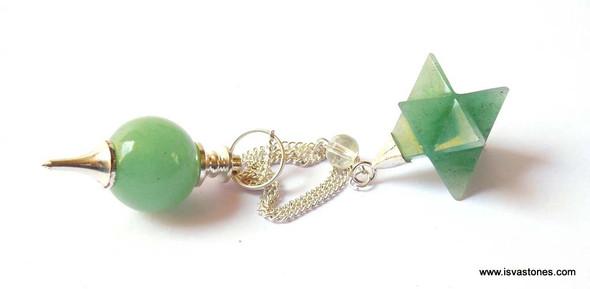 Green Quartz Ball Pendulum with Green Star