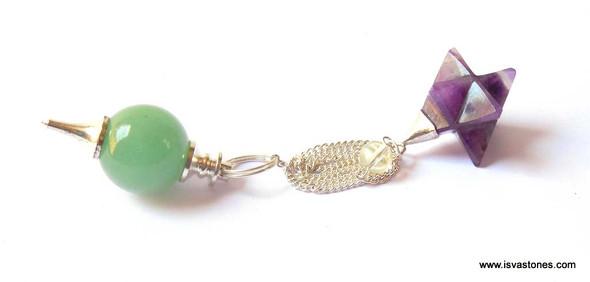 Green Quartz Ball Pendulum with Amethyst Star