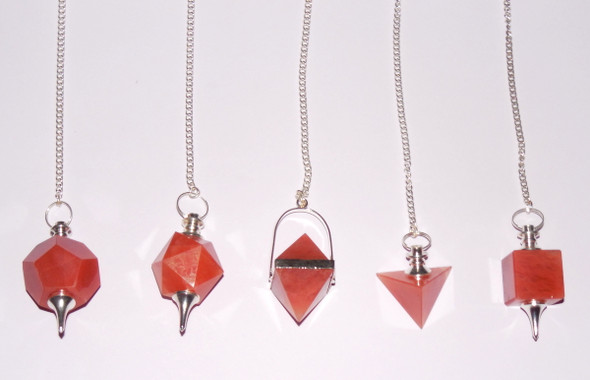 Sacred Geometery Red Quartz Pendulum