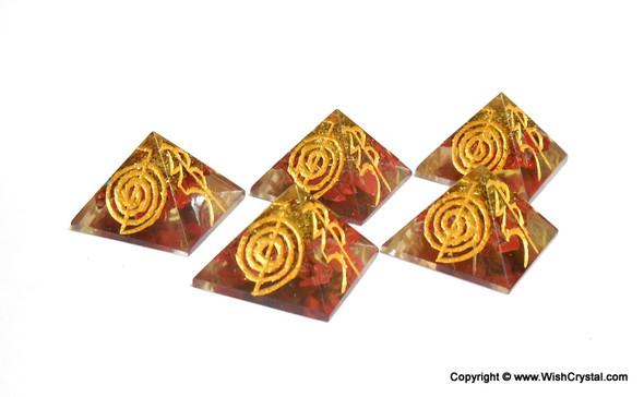 Red Jasper Orgone Pyramid Engraved wirh Reiki Signs