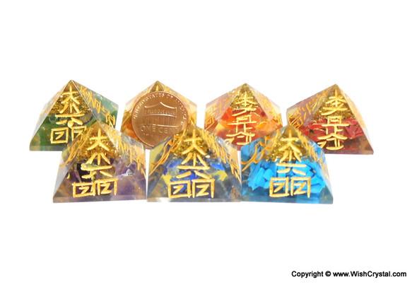 Set of 7 Chakra Orgonite Pyramids Engraved with Reiki Sign