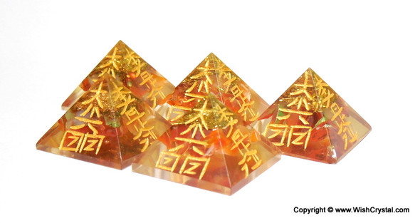Carnelian Orgonite Pyramid Engraved with Reiki Sign