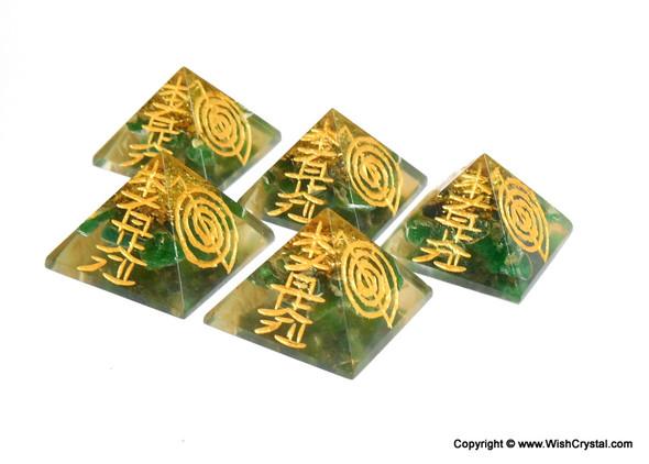 Green Aventurine Orgone Pyramid with Engraved Reiki Sign