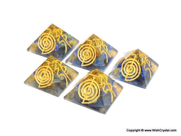 Lapis Lazuli Orgone Pyramid with Engraved Reiki Sign