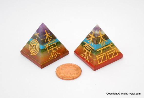 Chakra Stones Bonded Pyramid Engraved With Reiki Sign
