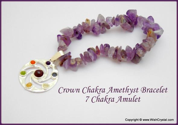 Amethyst Chakra Bracelet Charm Amulet Spiral