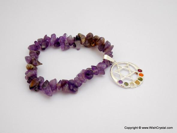 Amethyst Chakra Bracelet Charm Amulet Moon & Star