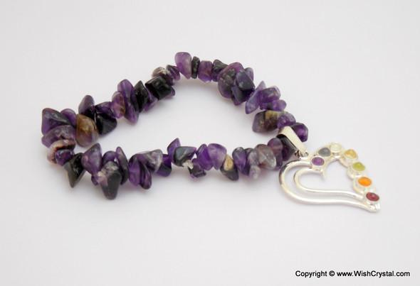 Amethyst Chakra Bracelet Charm Amulet Heart