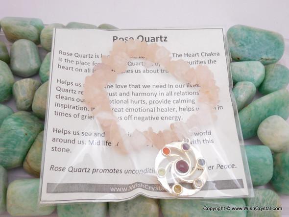 Rose Quartz Chakra Bracelet Charm Amulet Spiral