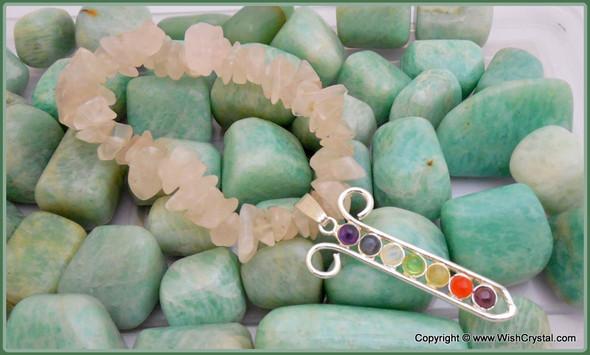 Rose Quartz Chakra Bracelet Charm Amulet Chakra Grid