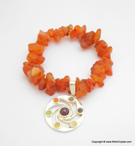 Carnelian Chakra Bracelet Charm Amulet Spiral