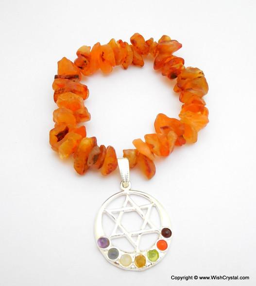 Carnelian Chakra Bracelet Charm Amulet Moon & Star