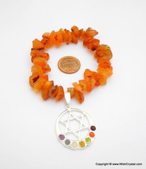 Carnelian Chakra Bracelet Charm Amulet Chakra Grid