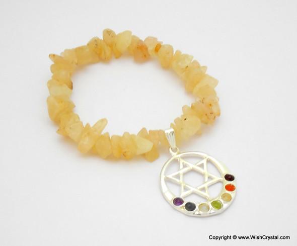 Yellow Aventurine Chakra Bracelet Charm Amulet Moon & Star